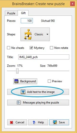 When you are creating the jigsaw puzzle, push the button Add Text and type and beautify your message