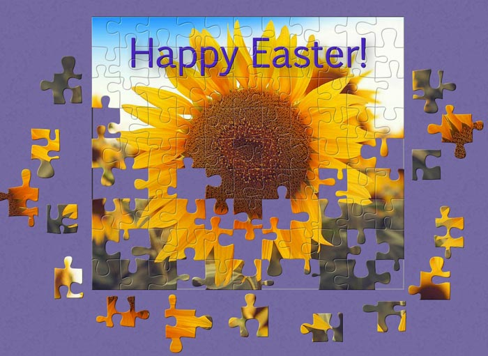 Create your own greeting Easter puzzles easily with BrainsBreaker and send them to your family and friends