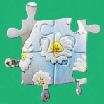 Easter greetings with a jigsaw puzzle