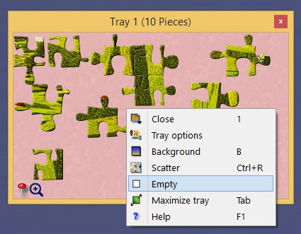 Right click over the open tray to access its options and send the pieces to the board for example