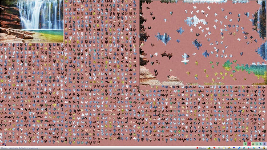 (Notice that what is shown here is reduced from the original capture).<br>A large jigsaw puzzle in process with more than one thousand pieces.
