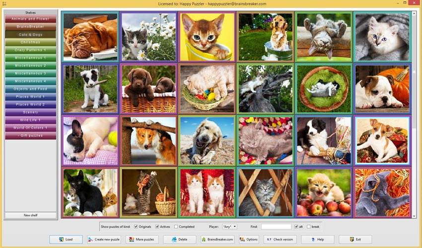 The thumbnails of the new pack Cats and Dogs in the gallery of BrainsBreaker