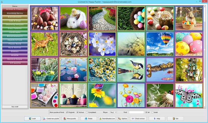 The new set Blooming Spring 1 from the gallery of BrainsBreaker, 40 puzzles ready to play