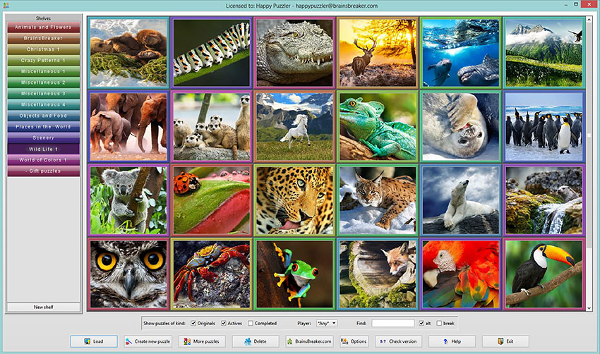 The thumbnails of the Wild Life set of puzzles for BrainsBreaker