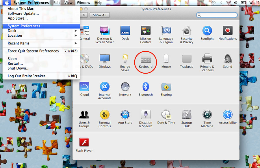 Remapping some Mac shortcuts easily. In the image we have a BrainsBreaker screenshot as a desktop background