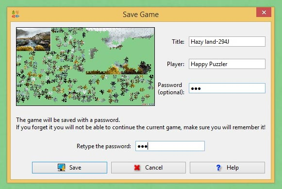 You can use the Save As function to assign a name, a title and optionally a password to your BrainsBreaker puzzles