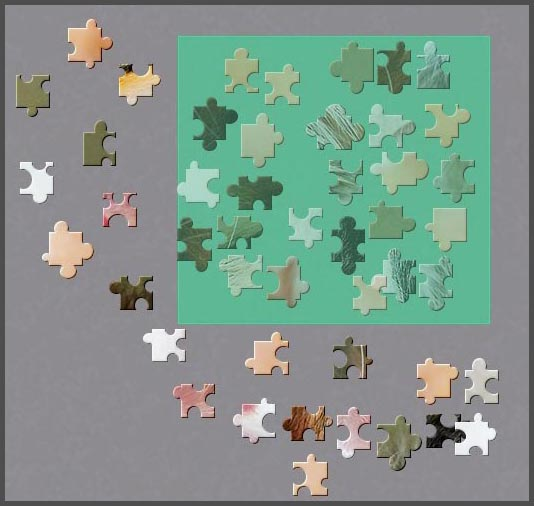 The selection rectangle of BrainsBreaker: all the pieces in it can be picked with a single click of the mouse