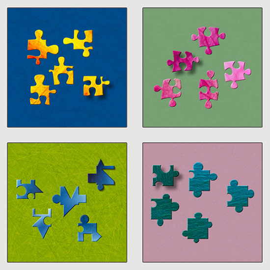 Some of the different jigsaw shapes in BrainsBreaker: Drops, Classic, Cubist and BB.