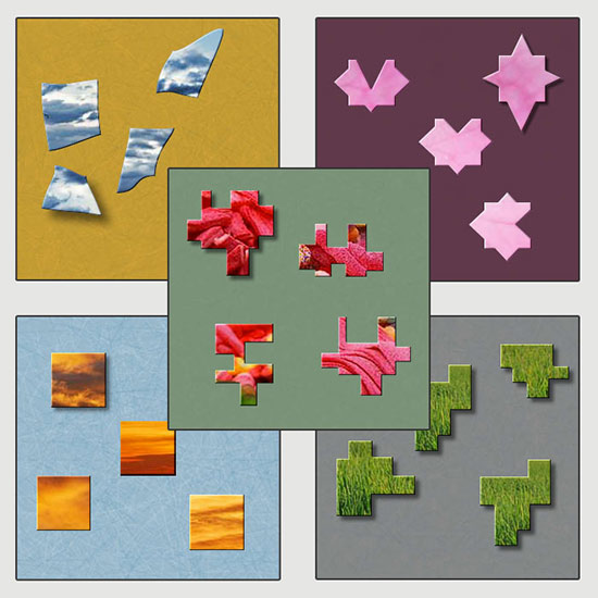 More piece shapes of BrainsBreaker: Patch, Starry, Mosaic, Steps and Squares.