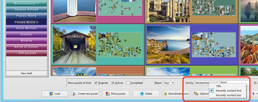 A fragment of the gallery showing the new feature to sort the jigsaw puzzles by different criteria