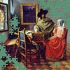 "A new jigsaw puzzle from BrainsBreaker, free for all. This time it's a painting by Johannes Vermeer, ""The Glass of Wine"". Play it with as many pieces as you want"