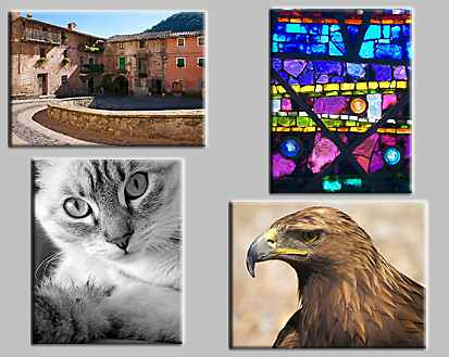 "thumbnails of the puzzles Puzzles: Bath interrupted, Sant Privat d""en Bas, Stained glass, Eagle and the mystery puzzle with bricks and windows"