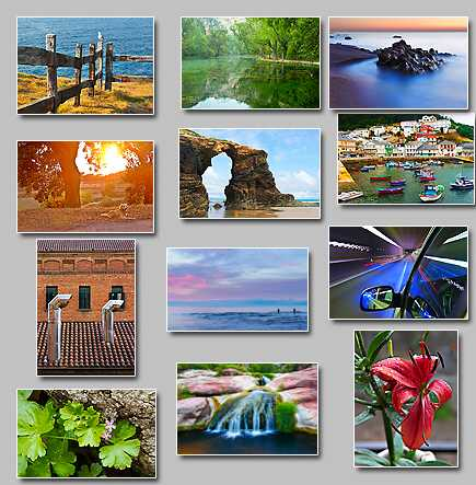 thumbnails of the puzzles Puzzles: Chimneys,wet flower,Calm,Small flowers,Mirror lake,Speed,Small waterfall,Sculpted by the sea,Fisher town,Seagull in a fence,Golden scene,Fishers