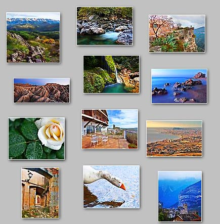 thumbnails of the puzzles Puzzles: Jigsaw puzzles: Barcelona, Four gates, Calm sea, Mountain range, Goose in water, Close to the edge, Gree water, Town in mountains, Dripping water, Eroded land, Drops in rose, Terrace with a view