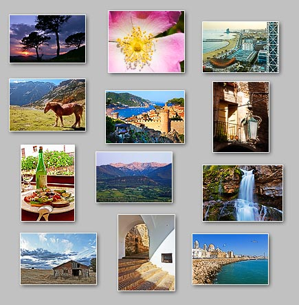 thumbnails of the puzzles Puzzles: Barn of stone, Old lamp, Floser at Sun, Tossa de mar, Sikly waterfall, Mountain horse, Cadiz, Arches street, Cadi, Barceloneta, Sagardo, Three pines