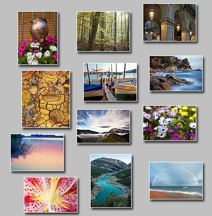 thumbnails of the puzzles Puzzles: Window decoration, Arches in Barcelona, Feast of colors, Fairy forest, Fishing boats, Rainbow over the sea, Rugged and uneven coast, Reflected colors, Meanders, Dramatic sky, Rough and delicate, Yellow clay