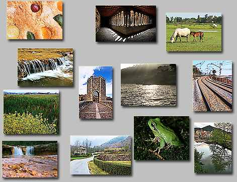 thumbnails of the puzzles Puzzles: To the tower, Water and stones, Evening reflections, Piece of cake, Railroad, Rainy place, Mother and son, Back from fishing, Frog, Gold and water, Luminous cloister, YGB